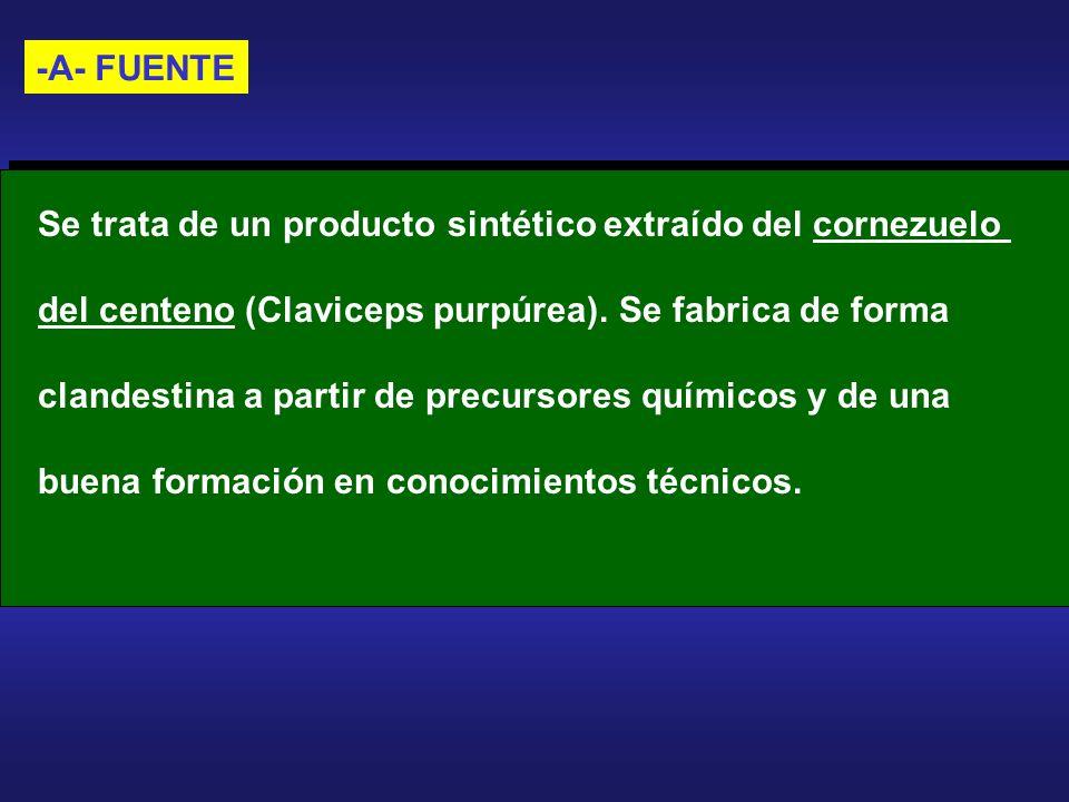 -A- FUENTE Se trata de un producto sintético extraído del cornezuelo. del centeno (Claviceps purpúrea). Se fabrica de forma.