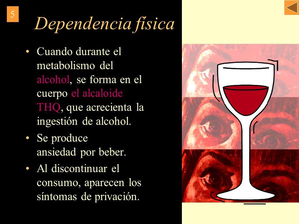 Dependencia física 5. Cuando durante el metabolismo del alcohol, se forma en el cuerpo el alcaloide THQ, que acrecienta la ingestión de alcohol.