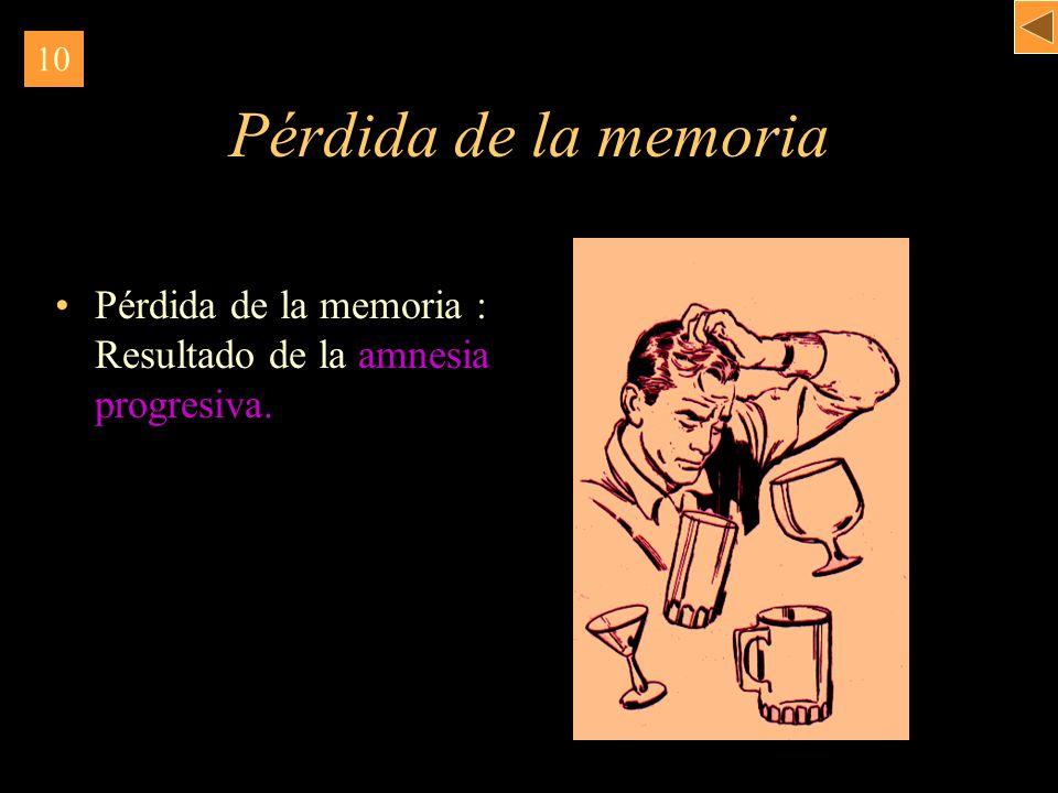10 Pérdida de la memoria Pérdida de la memoria : Resultado de la amnesia progresiva.