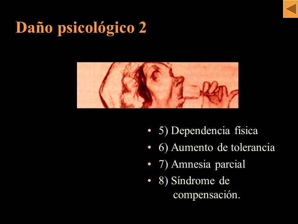 Daño psicológico 2 5) Dependencia física 6) Aumento de tolerancia