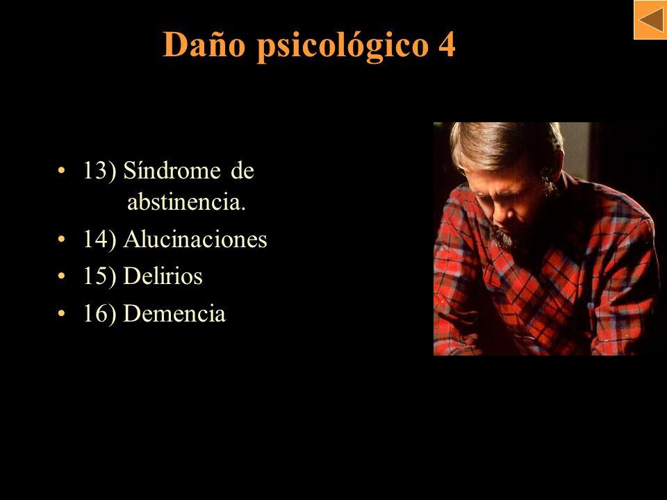 Daño psicológico 4 13) Síndrome de . abstinencia. 14) Alucinaciones