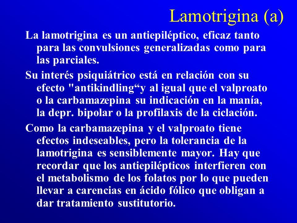 Lamotrigina (a) La lamotrigina es un antiepiléptico, eficaz tanto para las convulsiones generalizadas como para las parciales.