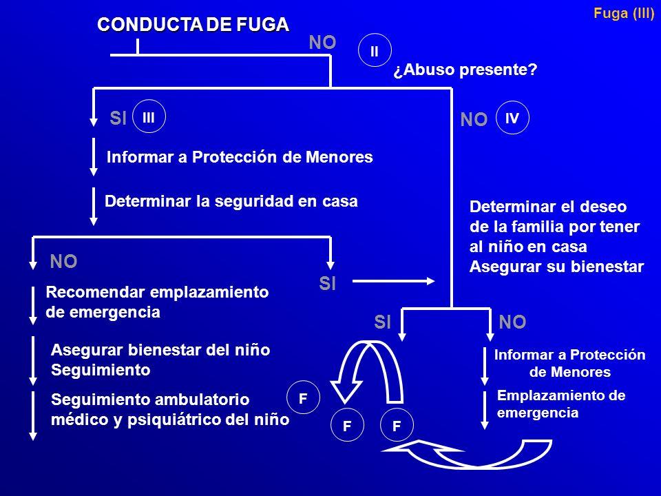 CONDUCTA DE FUGA NO SI NO NO SI SI NO