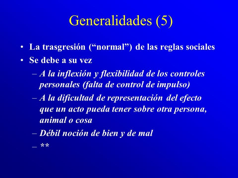 Generalidades (5) La trasgresión ( normal ) de las reglas sociales