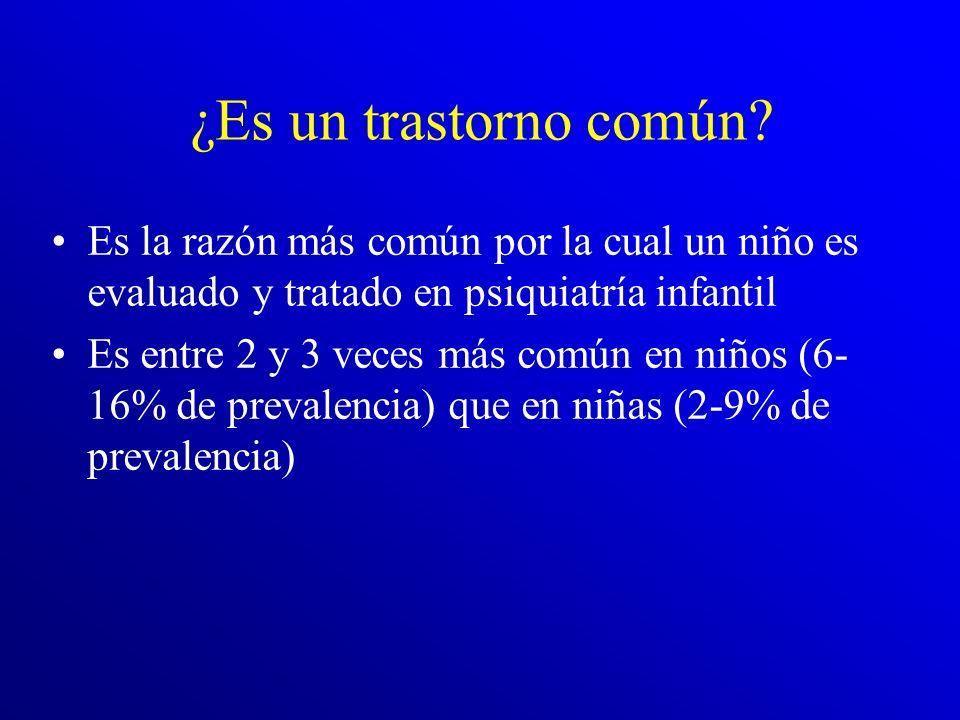 ¿Es un trastorno común Es la razón más común por la cual un niño es evaluado y tratado en psiquiatría infantil.