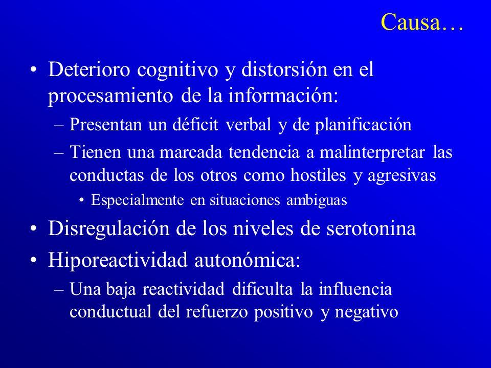 Causa… Deterioro cognitivo y distorsión en el procesamiento de la información: Presentan un déficit verbal y de planificación.