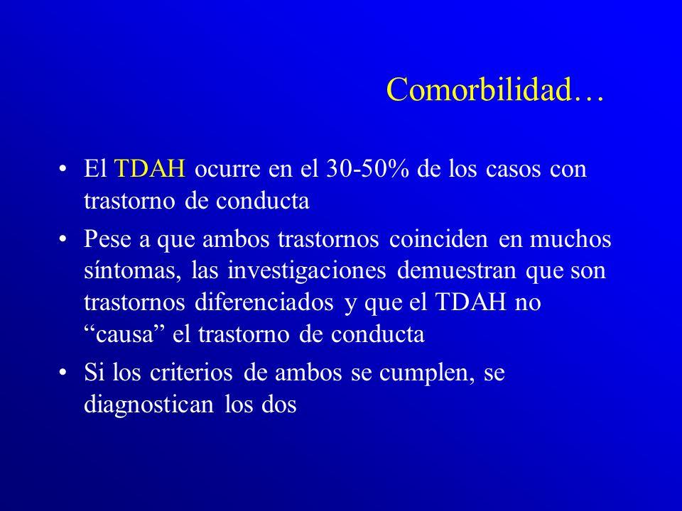 Comorbilidad… El TDAH ocurre en el 30-50% de los casos con trastorno de conducta.