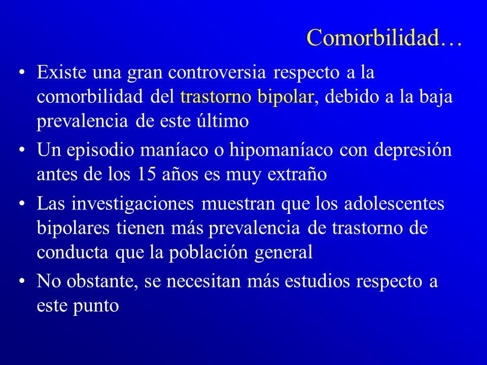 Comorbilidad… Existe una gran controversia respecto a la comorbilidad del trastorno bipolar, debido a la baja prevalencia de este último.
