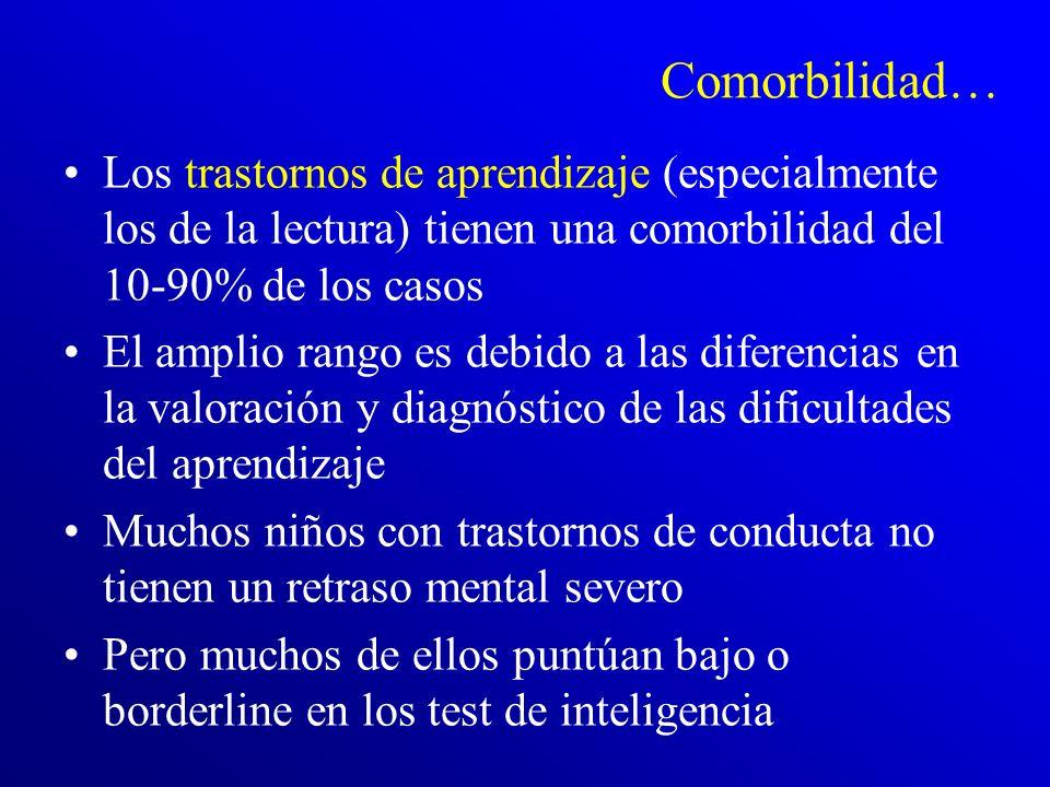 Comorbilidad… Los trastornos de aprendizaje (especialmente los de la lectura) tienen una comorbilidad del 10-90% de los casos.