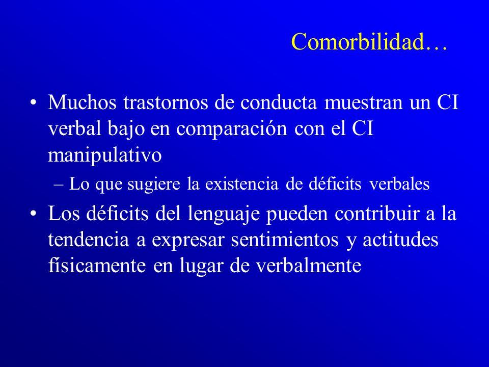 Comorbilidad… Muchos trastornos de conducta muestran un CI verbal bajo en comparación con el CI manipulativo.