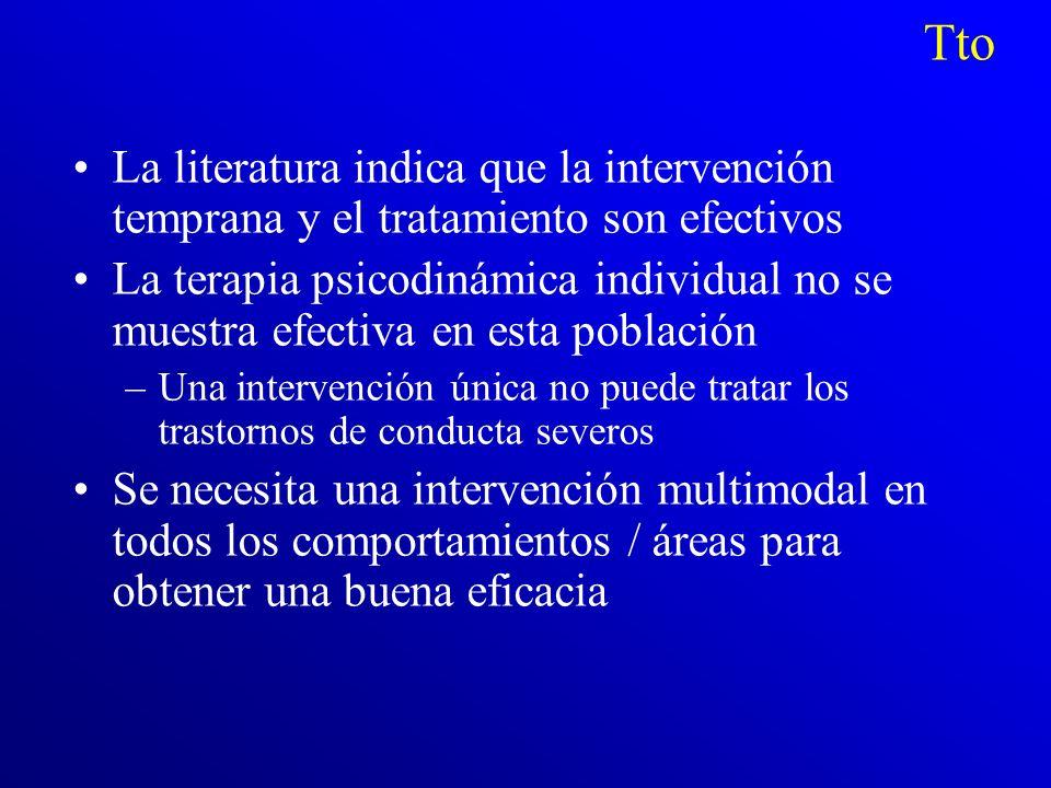 Tto La literatura indica que la intervención temprana y el tratamiento son efectivos.
