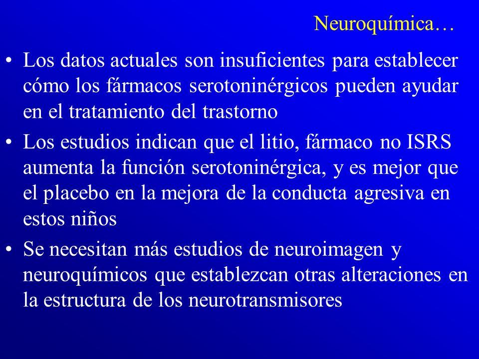 Neuroquímica… Los datos actuales son insuficientes para establecer cómo los fármacos serotoninérgicos pueden ayudar en el tratamiento del trastorno.