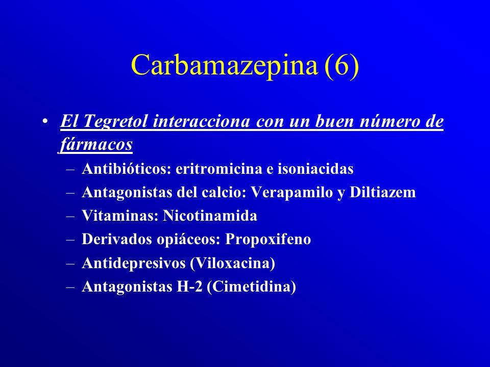 Carbamazepina (6) El Tegretol interacciona con un buen número de fármacos. Antibióticos: eritromicina e isoniacidas.