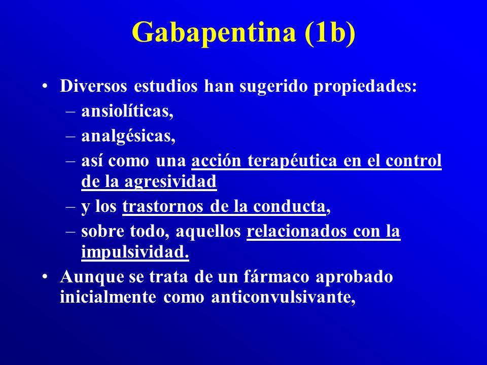 Gabapentina (1b) Diversos estudios han sugerido propiedades: