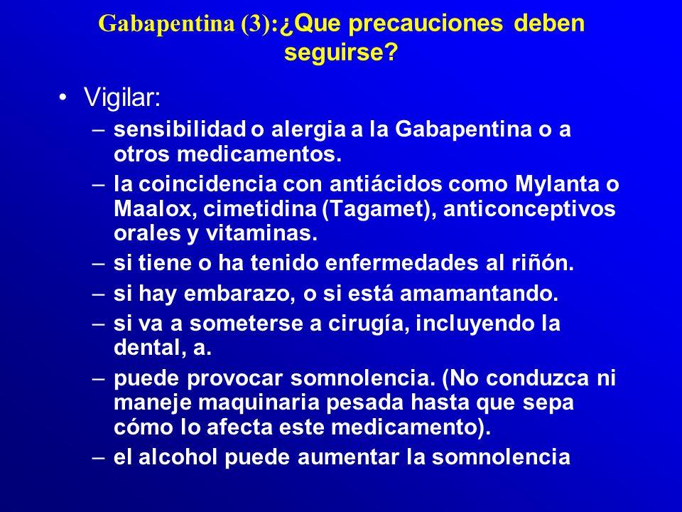 Gabapentina (3):¿Que precauciones deben seguirse