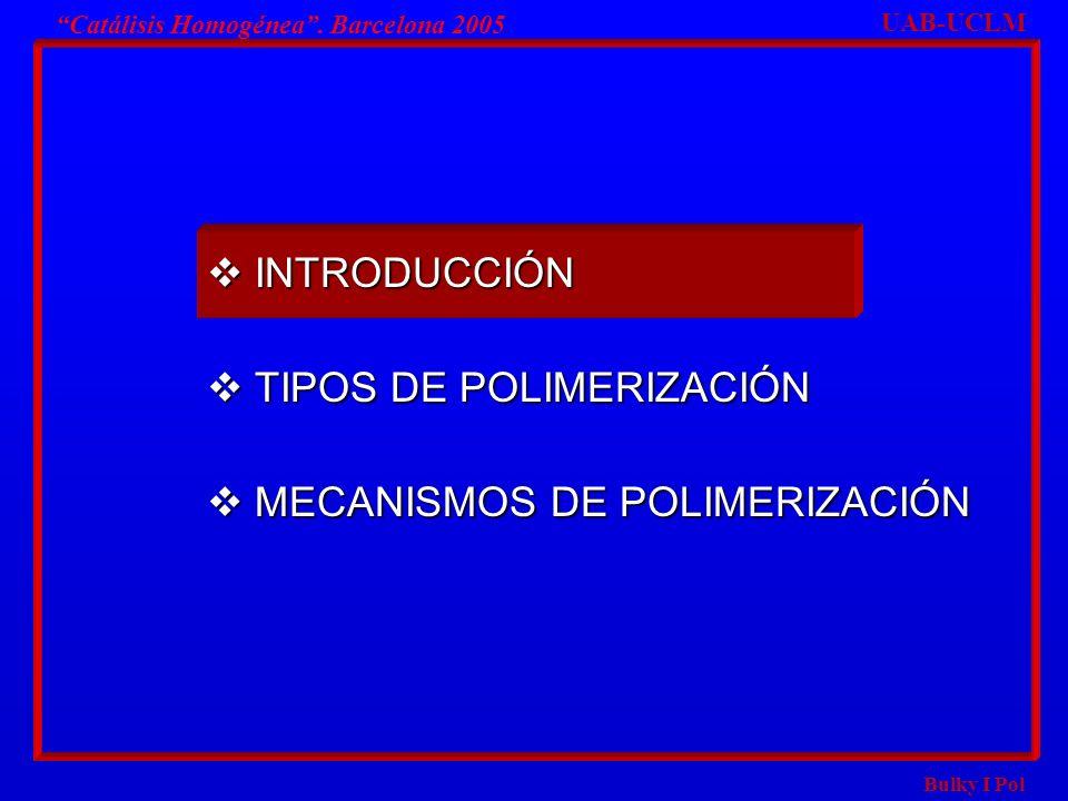 TIPOS DE POLIMERIZACIÓN MECANISMOS DE POLIMERIZACIÓN