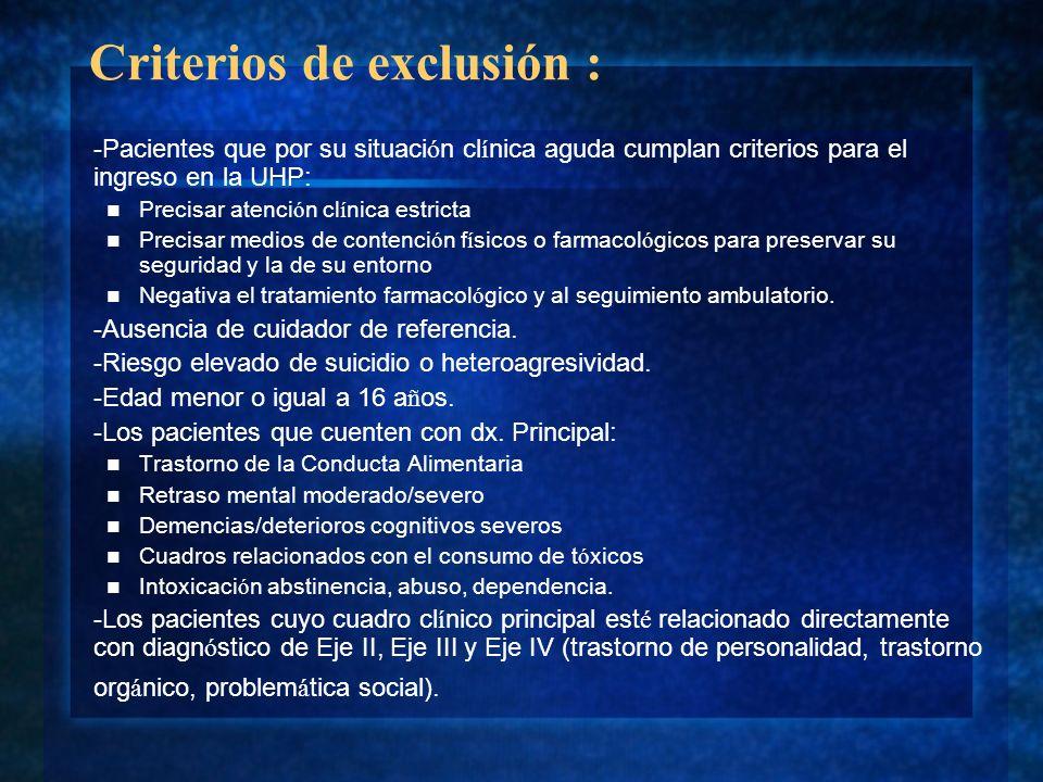 Criterios de exclusión :