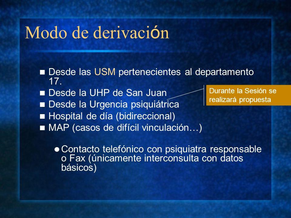 Modo de derivación Desde las USM pertenecientes al departamento 17.