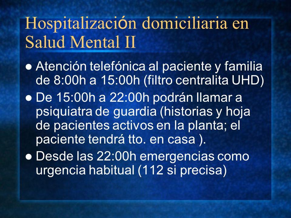 Hospitalización domiciliaria en Salud Mental II