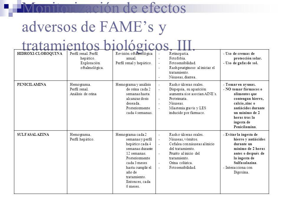 Monitorización de efectos adversos de FAME's y tratamientos biológicos