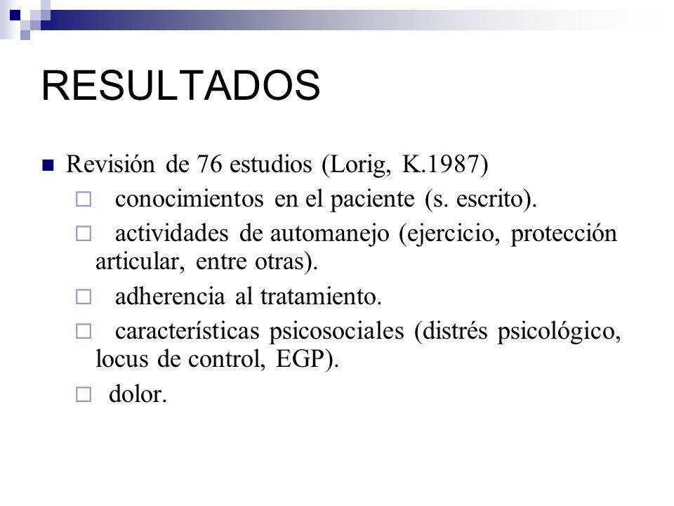RESULTADOS Revisión de 76 estudios (Lorig, K.1987)