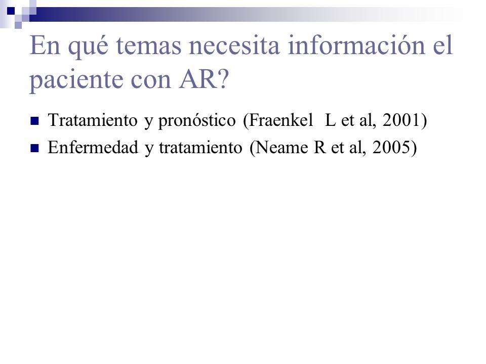 En qué temas necesita información el paciente con AR