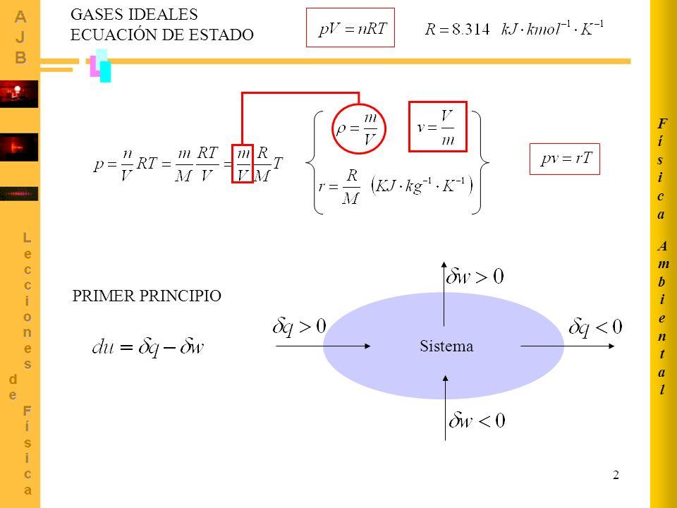 GASES IDEALES ECUACIÓN DE ESTADO PRIMER PRINCIPIO Sistema Física