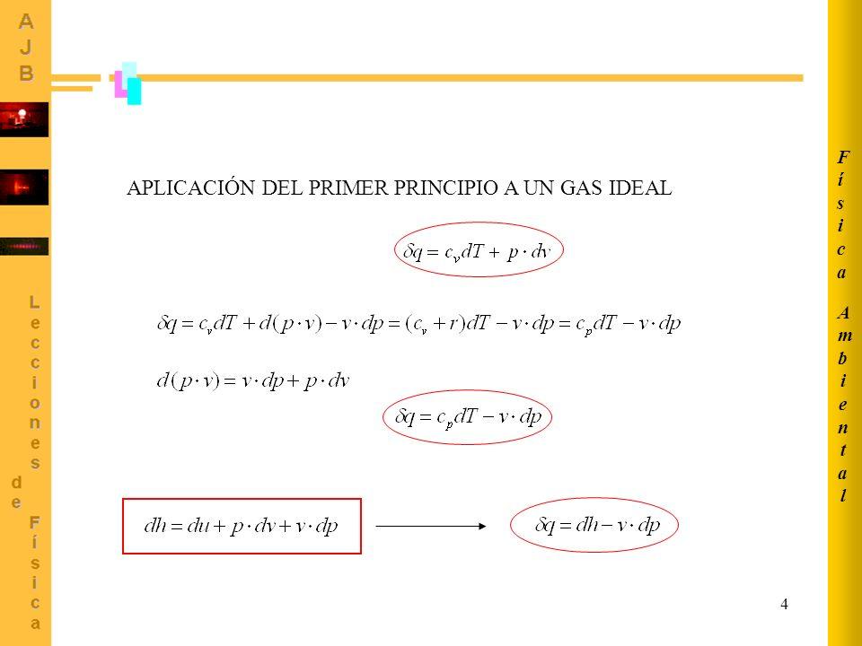 APLICACIÓN DEL PRIMER PRINCIPIO A UN GAS IDEAL