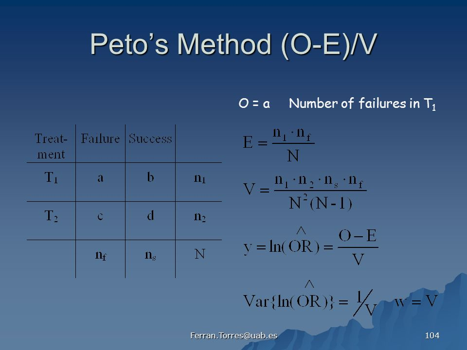 Peto's Method (O-E)/V O = a Number of failures in T1