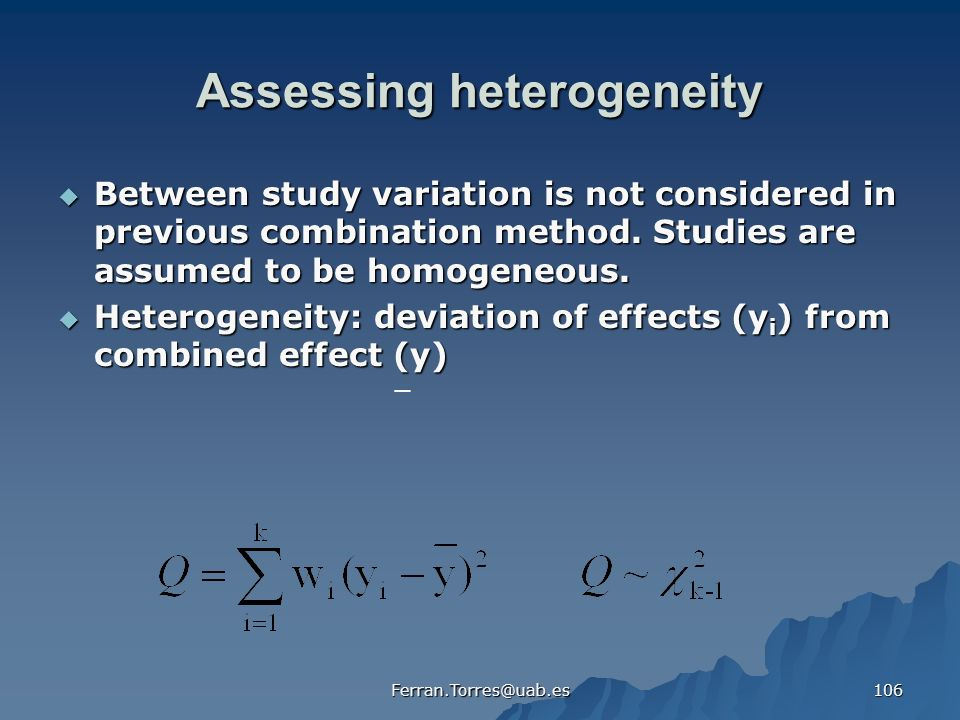 Assessing heterogeneity