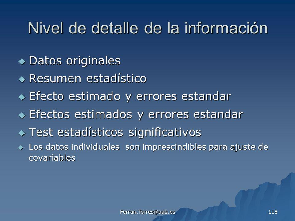 Nivel de detalle de la información