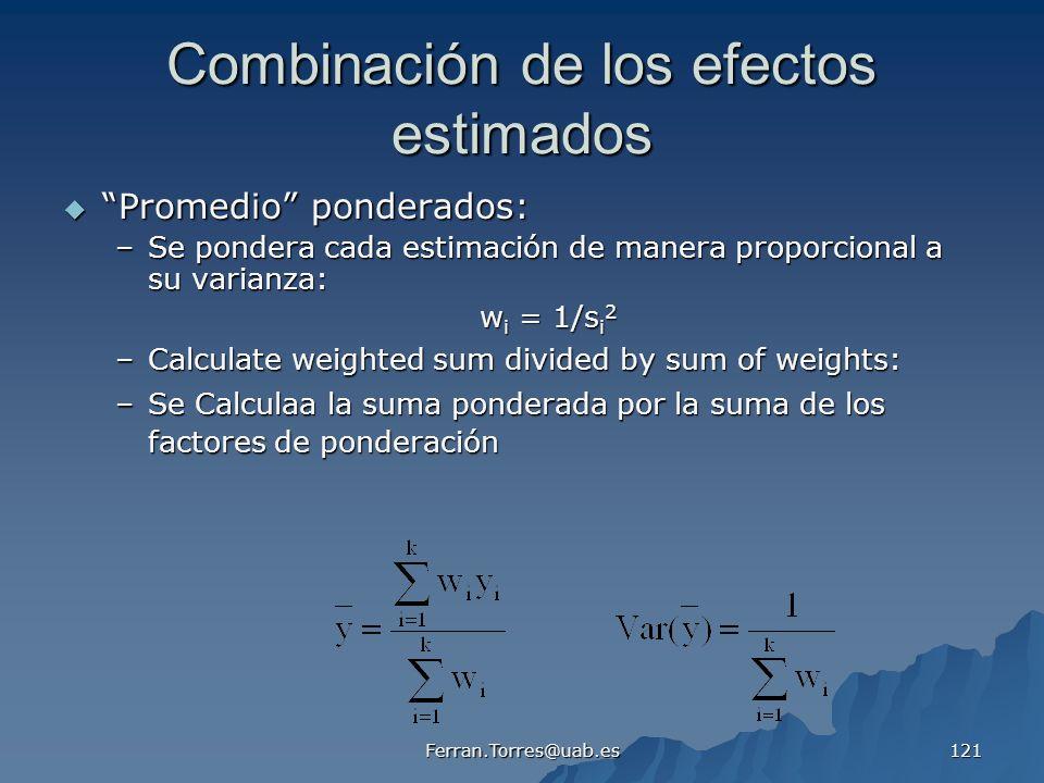 Combinación de los efectos estimados