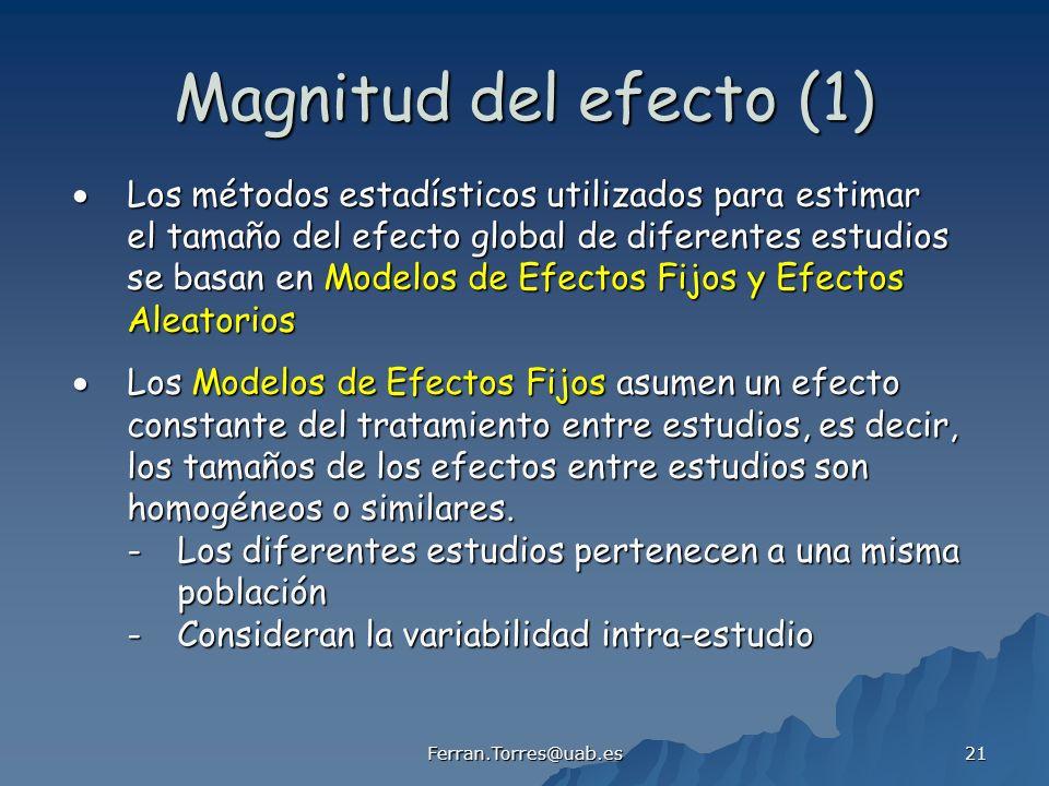 Magnitud del efecto (1)  Los métodos estadísticos utilizados para estimar. el tamaño del efecto global de diferentes estudios.