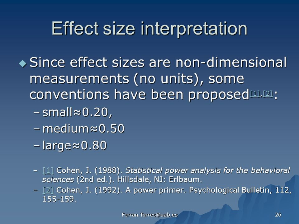 Effect size interpretation