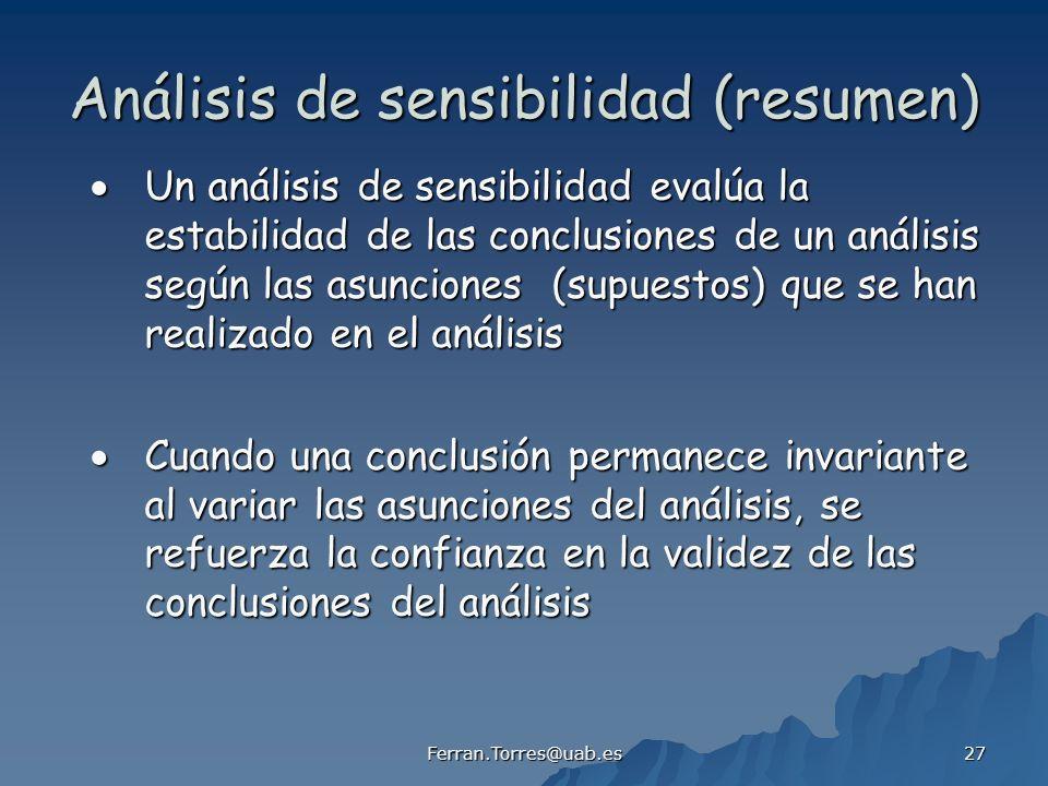 Análisis de sensibilidad (resumen)