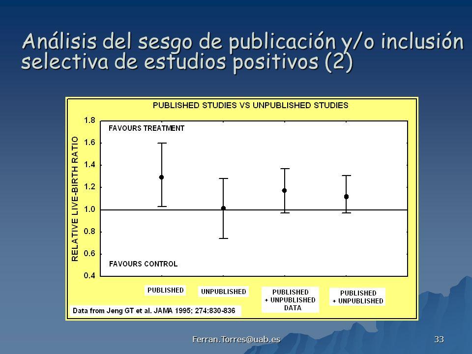 Análisis del sesgo de publicación y/o inclusión selectiva de estudios positivos (2)