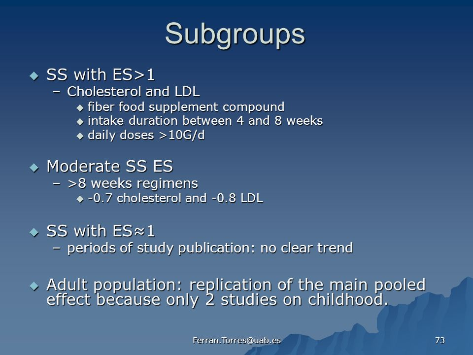 Subgroups SS with ES>1 Moderate SS ES SS with ES≈1