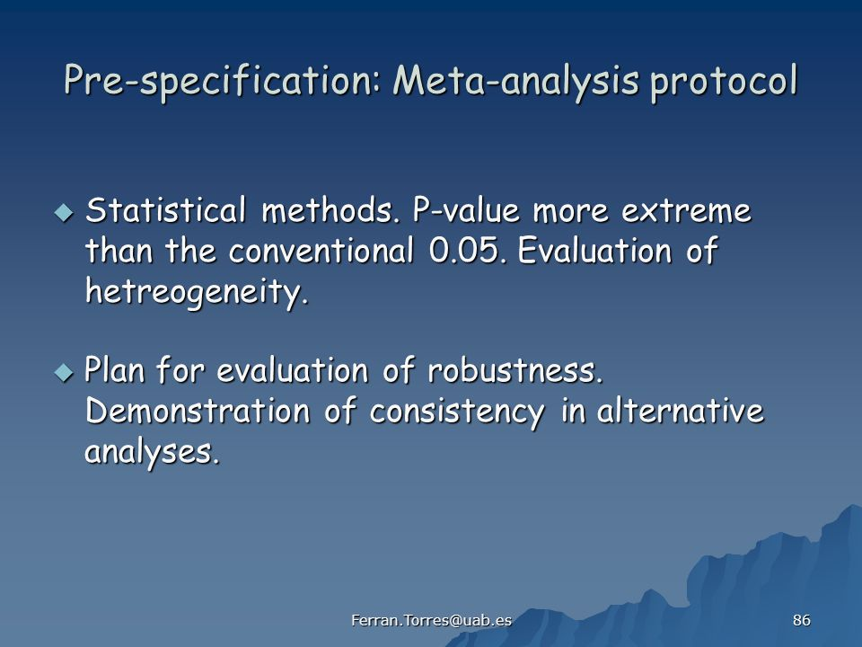 Pre-specification: Meta-analysis protocol