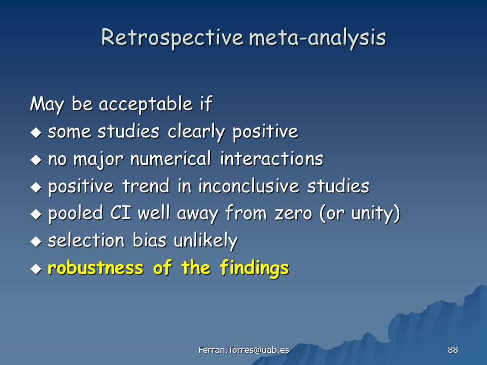 Retrospective meta-analysis