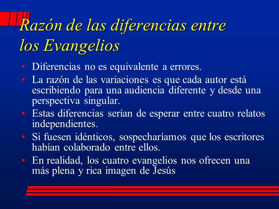 Razón de las diferencias entre los Evangelios