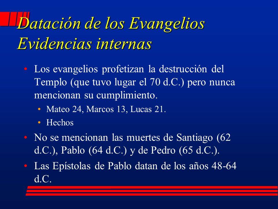 Datación de los Evangelios Evidencias internas