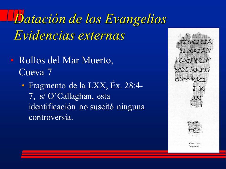 Datación de los Evangelios Evidencias externas