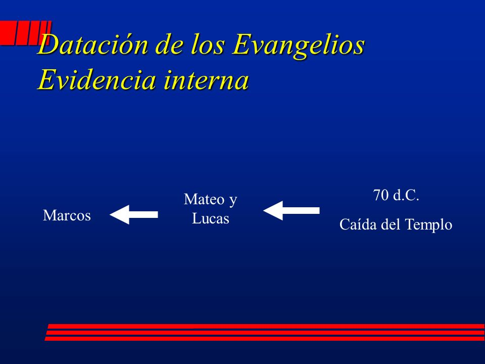 Datación de los Evangelios Evidencia interna