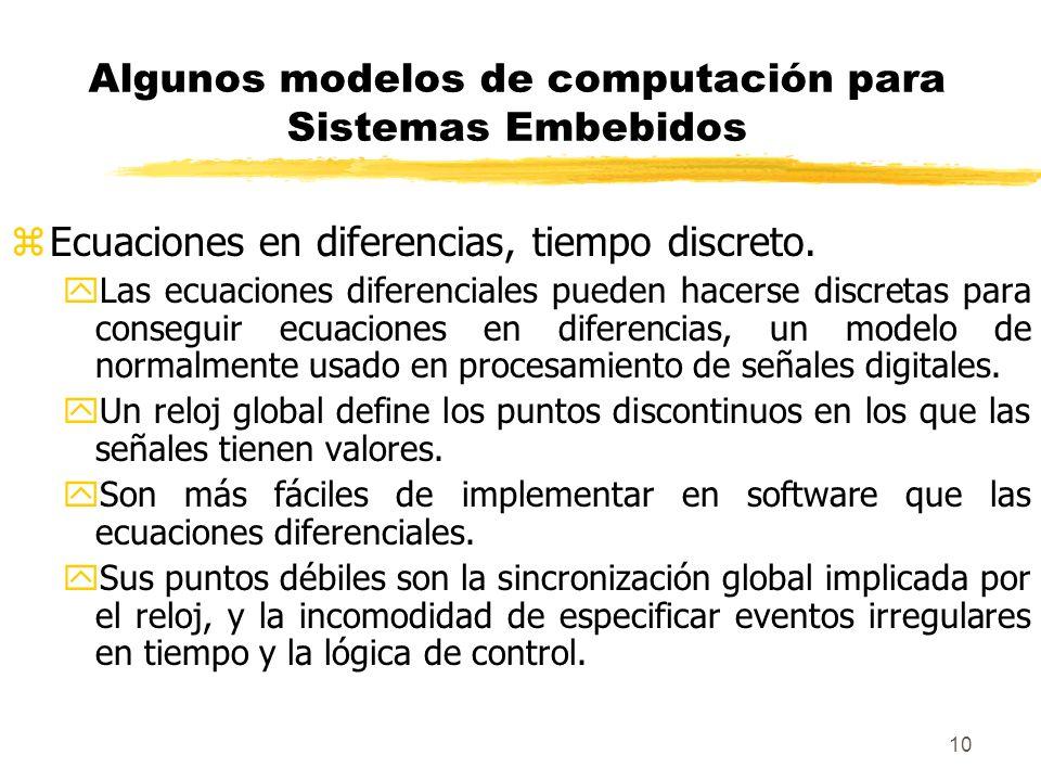 Algunos modelos de computación para Sistemas Embebidos