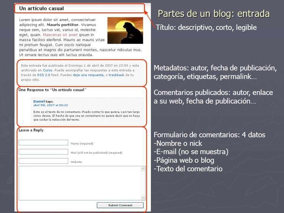 Partes de un blog: entrada