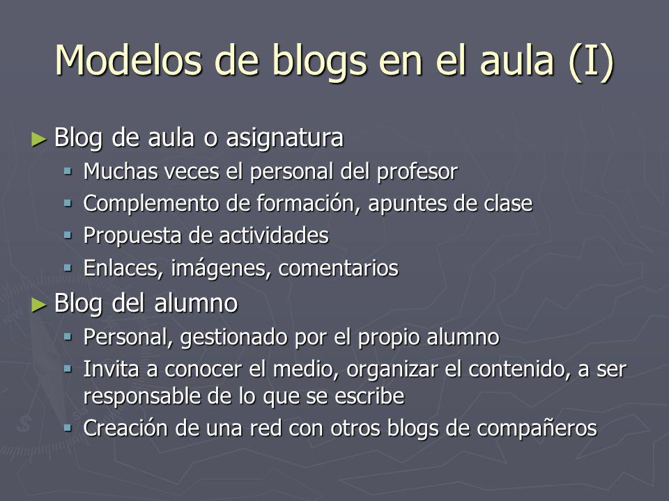 Modelos de blogs en el aula (I)