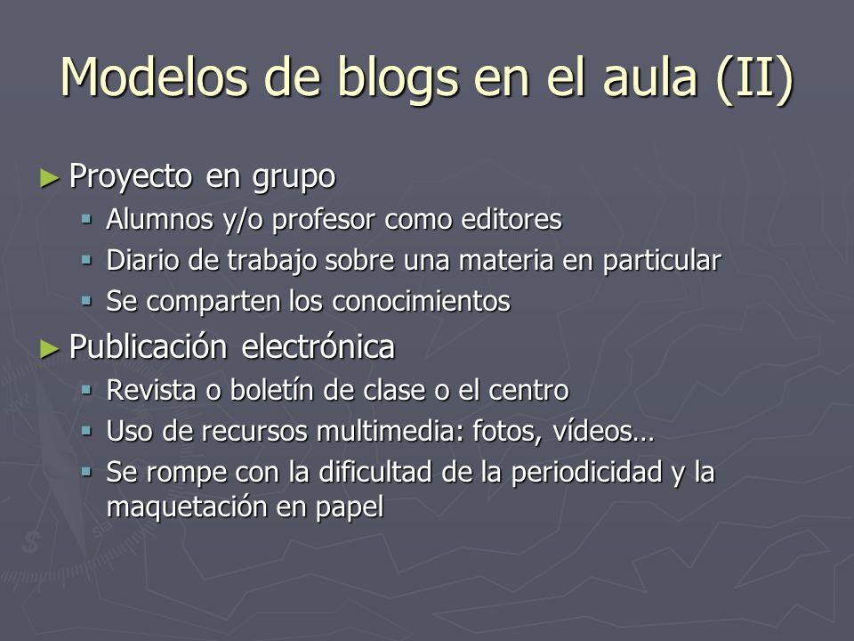 Modelos de blogs en el aula (II)