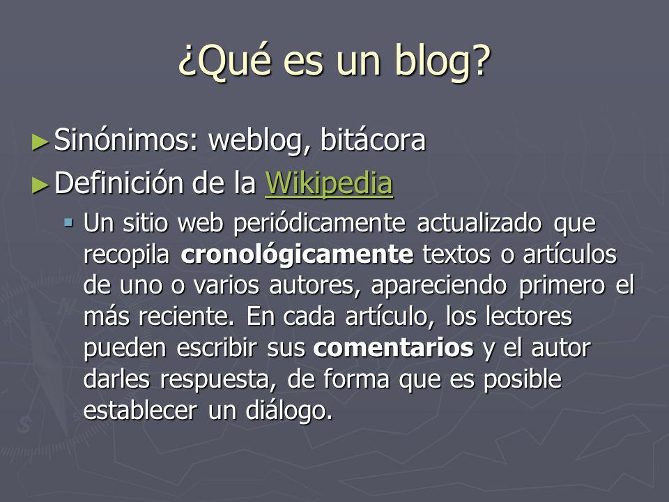 ¿Qué es un blog Sinónimos: weblog, bitácora