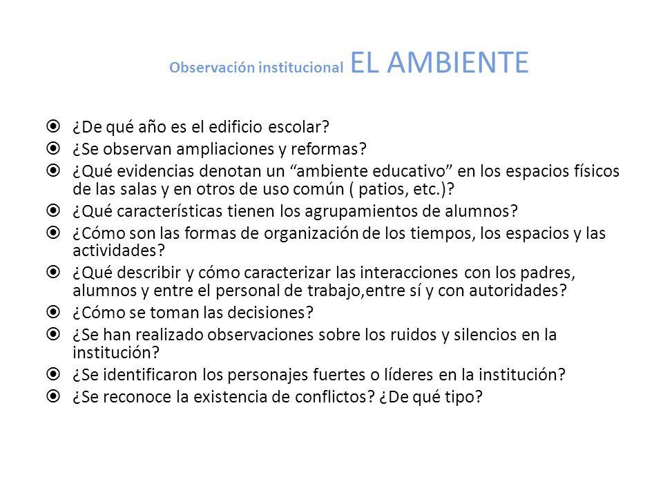 Observación institucional EL AMBIENTE
