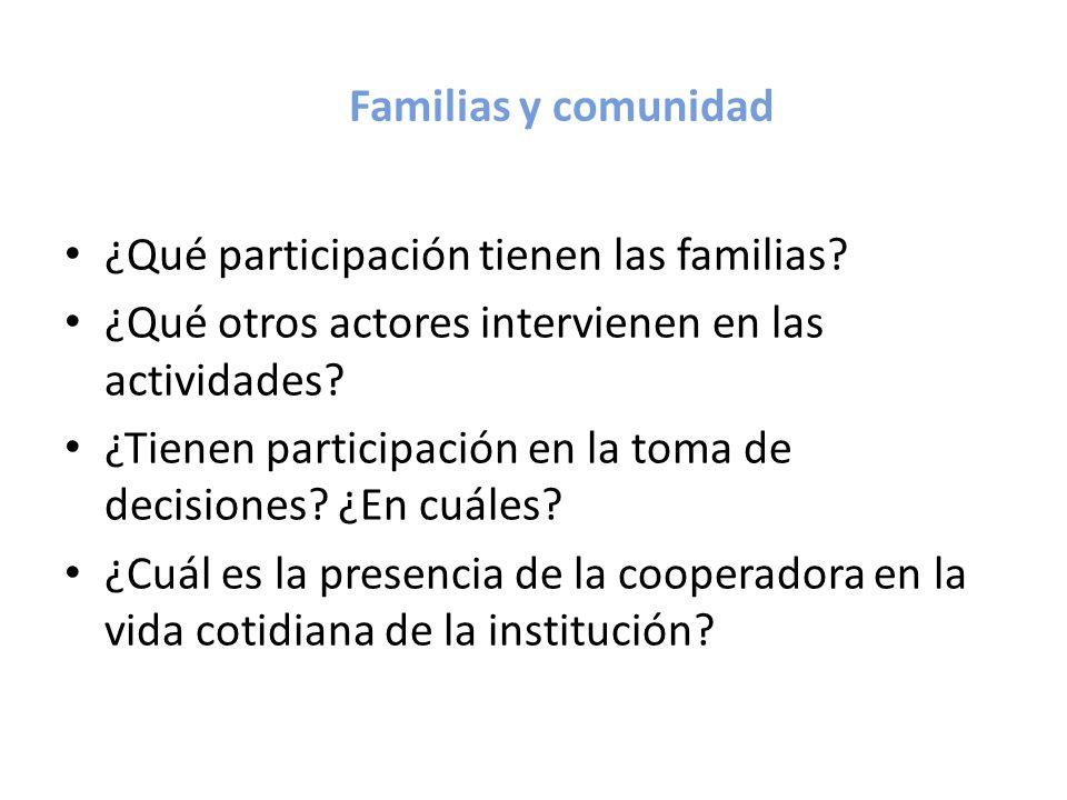 Familias y comunidad ¿Qué participación tienen las familias ¿Qué otros actores intervienen en las actividades